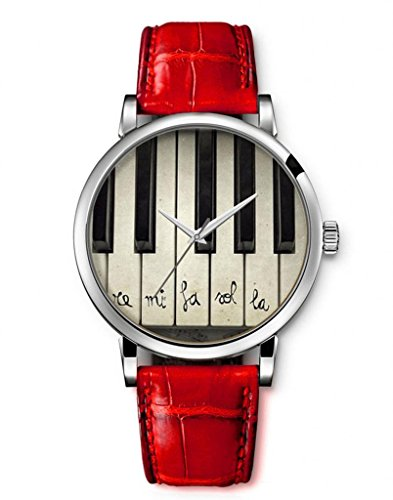 iCreat-Women-Ladies-Girls-Analog-Wrist-Watch-Red-Genuine-Leather-Strap-Dial-with-Piano-Keys-Black-White