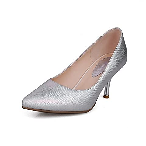 BalaMasa Ladies Thread Electroplate Heel Wave Carved Pattern Bottom Silver Blend Materials Pumps-Shoes - 5 UK