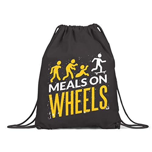 BLAK TEE Halloween Meals on Wheels Organic Cotton Drawstring Gym Bag Black