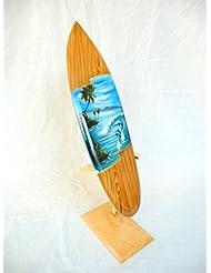 Miniatura Tabla de Surf SURF Madera onda Jinete Altura 30cm, incluye soporte de madera decoración