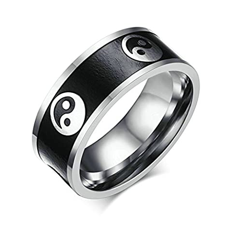 AMDXD Jewelry Stainless Steel Men Engagement Rings Silver Black Yin Yang,Free Lettering,Size T 1/2