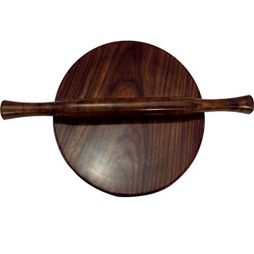G&D handgefertigtes Holz Chapati-Maker Servierbrett, rund, Roti-Maker mit Nudelholz, kreisförmiges Brett, Chakla und Belan Set aus Sheesham Holz, Küche nützliches Werkzeug