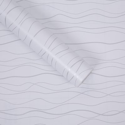 ZCHENG The Simple Self-Stick Wall Paper Glue Surface Wallpaper Pvc Wallpaper Wallpaper Waterproof Self-Adhesive 10 Meters One Roll Of Green On White And Light Gray 10 M White Streaks, Large585224 -