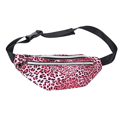 FENICAL 1pc riñonera con Estampado de Leopardo Doble Cremallera Bolsa Cintura Bolsa riñonera debería Bolsa (Rojo)
