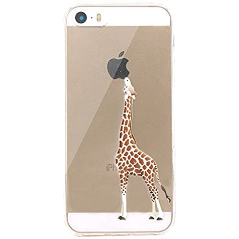 JIAXIUFEN Neue Modelle TPU Silikon Schutz Handy Hülle Case Tasche Etui Bumper für Apple iPhone 5 5S SE - Giraffe eating Apple