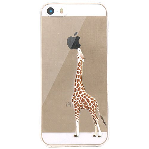 Iphone-modell (JIAXIUFEN Neue Modelle TPU Silikon Schutz Handy Hülle Case Tasche Etui Bumper für Apple iPhone 5 5S SE - Giraffe Eating)