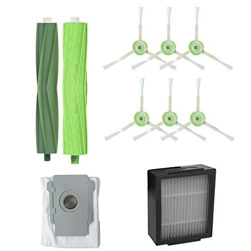 Rifuli® Zubehör für Staubsauger Side Brush&Hepa Filters& Dirt Disposal Bags for iRobot Roomba i7 i7+/i7 Plus E5 Staubsaugerzubehör 0510#028