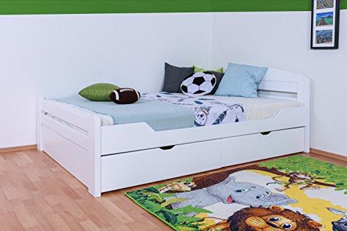 """Jugendbett""""Easy Premium Line"""" K5, inkl. 2 Schubladen und 2 Abdeckblenden, 140 x 200 cm Buche Vollholz massiv weiß lackiert, inkl. Lattenrost"""