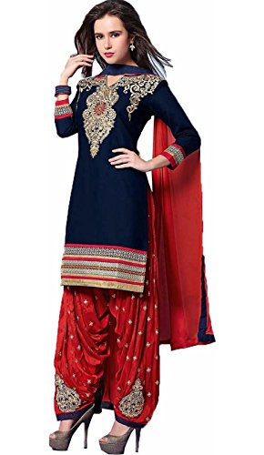 Latest designer embroidery work semistitched cotton suit for women fashion. red salwar...