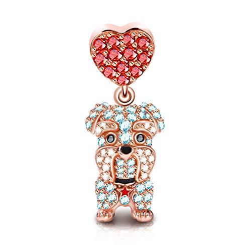 GNOCE Haustier Charms Anhänger Sterling Silber Hund Charms mit Zirkonia Charm Schmuck für alle Armbänder Halsketten Geschenke Bijouterie für Tierliebhaber Damen Mädchen Baby (Schnauzer)