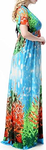 Wantdo Femme - Robe Bohème Imprimée - Col en V Foncé Bleu