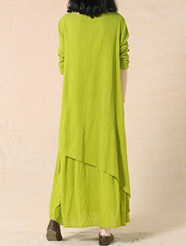 MatchLife Women's New Solid Double Layer Irregular Hem Dress Green