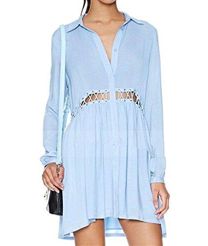 QIYUN.Z Vente Chaude Des Femmes Occasionnels a Manches Longues En Vrac En Tete Blouses Chemise Bleu clair