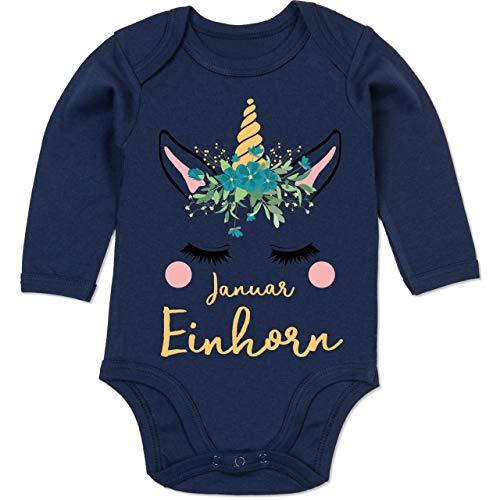 Shirtracer Geburtstag Baby - Geburtstagsmotiv Januar Einhorn - 6-12 Monate - Navy Blau - BZ30 - Baby Body Langarm