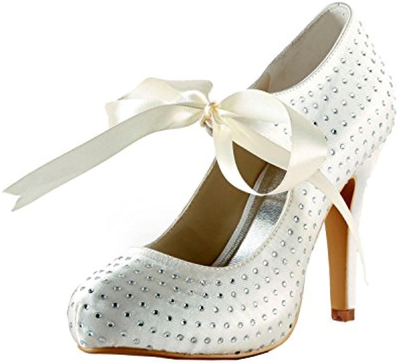 f83129b8fa4f MINITOO GYAYL438 GYAYL438 Womens Stiletto B074RJP52X High Mary Heel White  Satin Evening Party Shoes Bridal Wedding Mary Jane Pumps UK 6.5 B074RJP52X  Parent ...