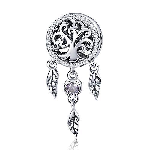 Atrapasueños de árbol 100% plata de ley 925 con diseño de árbol genealógico para pulseras y collares de mujer