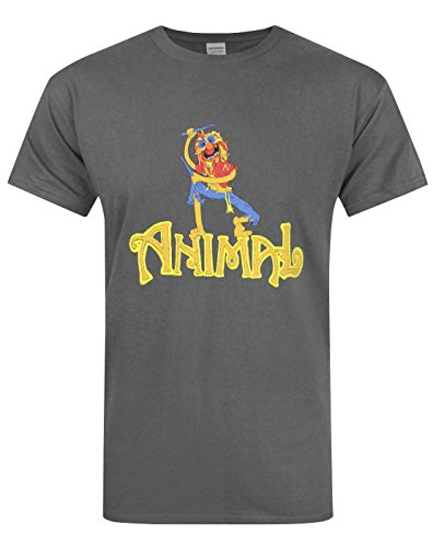 Official Muppets Animal Drummer Men's Charcoal T-Shirt (M)