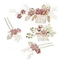 Toyvian Rhinestone Hair Combs Floral Bridal Headpiece Crystals Headband Decorative Bridal Headband for Wedding Party (Pink) - 4pcs