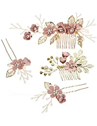 Toyvian Rhinestone Hair Combs Floral Bridal Headpiece Crystals Headband Decorative Bridal Headband for Wedding Party (Pink) - 4pcs