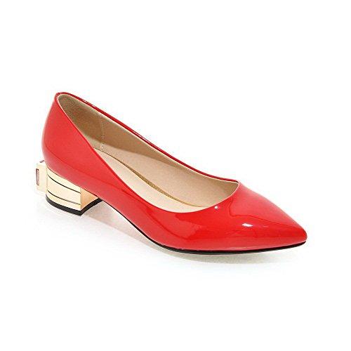 VogueZone009 Damen Niedriger Absatz Rein Ziehen auf Lackleder Spitz Zehe Pumps Schuhe, Rot, 37
