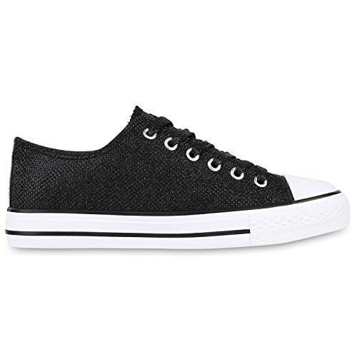 Elegante Damen Sneakers low | Glitzer Canvas Schuhe | Turnschuhe Freizeit | Gr. 36-41 Schwarz Shiny