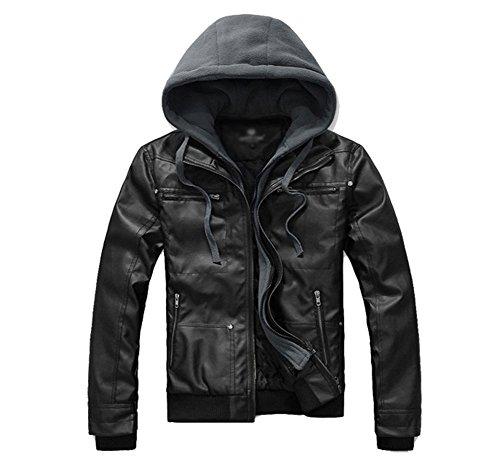 Hombre Otoño Invierno Chaquetas Imitacion Cuero Cazadoras Cremallera Moto Abrigos Con Capucha Negro M