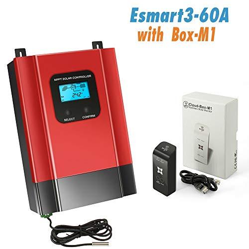Solar-Laderegler 12V/24V/36V/48V Batterie-Panel Controller APP/WiFi esmart3 60A+WIFI BOX-M1