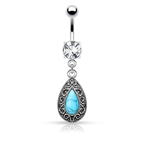 Crystal Clear Grande pietra del turchese vintage strappo del ventre goccia Charm Bar Piercing Spessore: 1.6mm Lunghezza: 10mm Materiale: acciaio chirurgico
