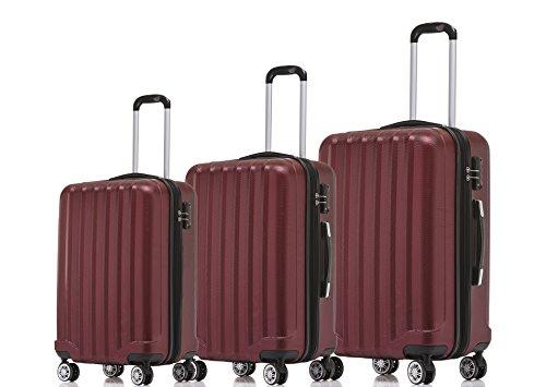 BEIBYE TSA-Schloß 2080 Zwillingsrollen 3 TLG. Reisekofferset Koffer Kofferset Trolley Trolleys Hartschale (Weinrot)