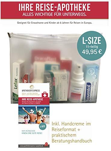 Reiseapotheke von Apotheken-Express (L-Size) 11-teilig inkl. einem pflegendem Duschbad oder Handcreme von Pharma Nature und praktischer Gebrauchsanweisung
