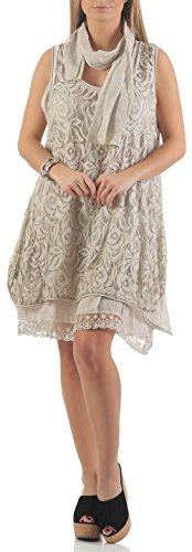 malito Damen Strickkleid mit Schal   Maxikleid mit Spitze   ärmelloses Freizeitkleid