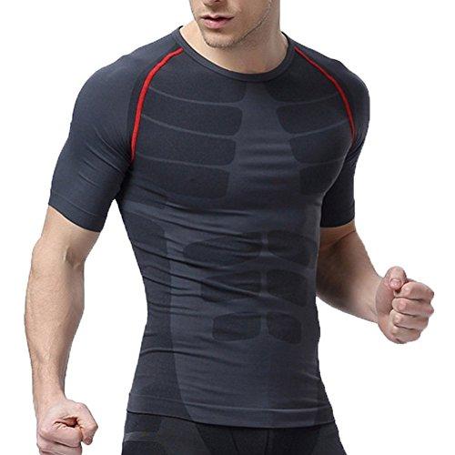 Männer kurze Hülse schnell trocknende Strumpfhose Körper Former Muskel Weste T-Shirts Men Compression Fitness Joggen Motion Bekleidung (Red, M) (Muskel-former)