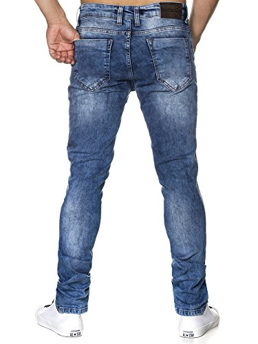 TAZZIO Slim Fit Herren Destroyed Look Stretch Jeans Hose Denim 16525 Blau