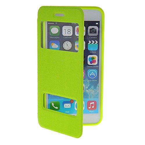iPhone 6s Tasche Flip, Flip Case Hülle für iPhone 6 mit Sichtfenster (4.7 Zoll), Moon mood® PU Leder Flip Hülle für iPhone 6 / iPhone 6S mit Doppel Fenster Premium Bumper Backcover Handytasche Etui im Grün