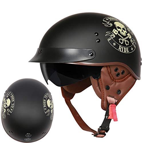 Elektrischer Fahrzeuglichtsturzhelm des Retro- Motorradsturzhelm-Schutzohres halber Sturzhelmabdeckungssommer weiblicher-XXL-7