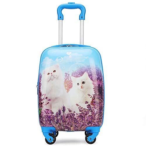 YCYHMYF Due Gatti, Trolley per Bambini, valigie, Viaggi per Le Vacanze, Valigia Leggera, 16 Pollici