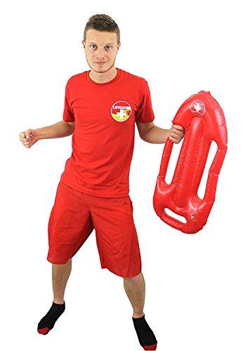 Lebens RETTER Schwimmer KOSTÜM Verkleidung =Tshirt +Shorts = Fasching +Karneval= Verschiedenen VARIATIONEN =ERHALTBAR IN 4 Verschiedenen GRÖSSEN=KÜSTENWACHE=MIT BOJE -MEDIUM (David Hasselhoff Baywatch Kostüm)