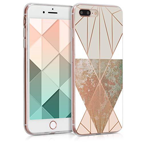 kwmobile Apple iPhone 7 Plus / 8 Plus Hülle - Handyhülle für Apple iPhone 7 Plus / 8 Plus - Handy Case in Glory Dreieck Design Beige Rosegold Weiß