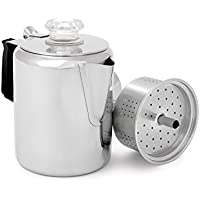GSI Outdoors Glacier Stainless 3 Perc Cafetera, Unisex Adulto, Plateado, 3 Cup