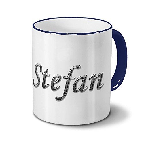 Tasse mit Namen Stefan - Motiv Chrom-Schriftzug - Namenstasse, Kaffeebecher, Mug, Becher,...