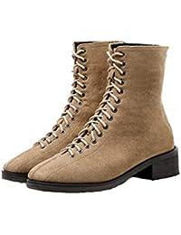 KPHY Zapatos de Mujer/Corbata Martin Botas El Otoño Y El Invierno Alta Banda Ingles