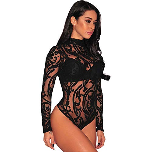 Sexy Body für Damen Frauen Langarm Mock Neck Sheer Mesh Print Bodysuit Trikots Stretchy Jumpsuit Tank Tops Clubwear Strampler Bodysuit Tanga Clubwear Oberteile ( Farbe : Schwarz , Größe : L ) -