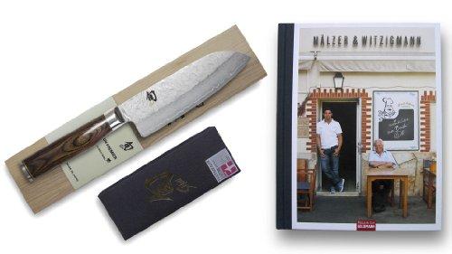 Kai Damastmesser-Set Shun Premier Tim Mälzer Santoku-Kochmesser 14cm Klinge+ Kochbuch Greenbox + Kombinationsschleifstein