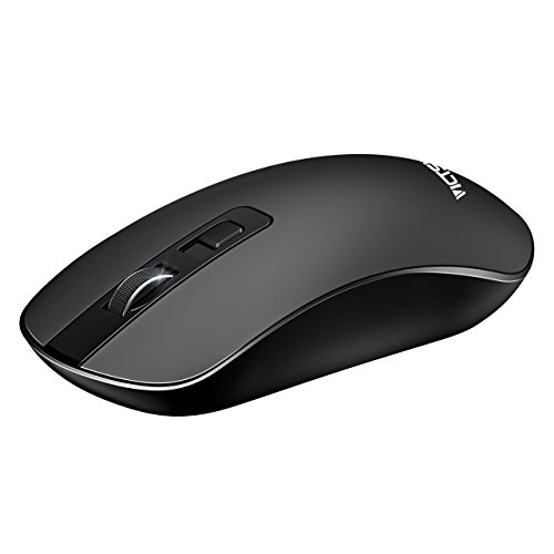 VICTSING Kabellose Maus, 4 Taste leise Wireless Mouse, still Klick drahtlose Maus, 3 einstellbar CPI Level mit 2.4G USB Nano Receiver Computermaus und ON-OFF Schalter funkmaus für PC, Laptop, Computer und Mac - Schwarz