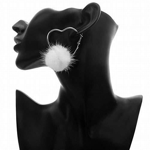 Nerz Ohrenschützer (Funytine Frauen minimalistische geometrische Legierung Hohle Ohrringe Wilde herzförmige Winter Wasser Nerz Kugel Ohrstecker (Color : Sliver))