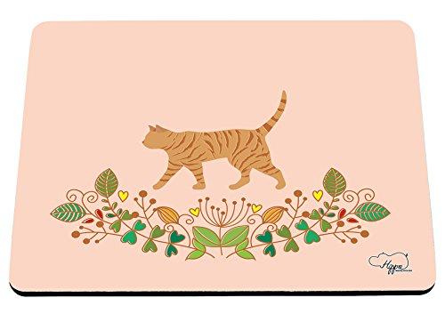 hippowarehouse Katze Blumenmuster Mauspad Zubehör Schwarz Gummi Boden 240mm x 190mm x 60mm, rot / grün, Einheitsgröße (Cheetoh Katzen)