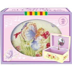 Unbekannt hübsche Schmuckdose / Spieluhr mit Musik und Kleiner Elfe
