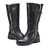 gracosy Womens Knee Boots Ladies Low Flat Heel Wellington Boot Outdoor Waterproof Winter Snow Boots Shoes Fur Lined Warm Ankle Riding Boots with Buckle Zipper Stretch Wide Calf Casual Biker Long Boots