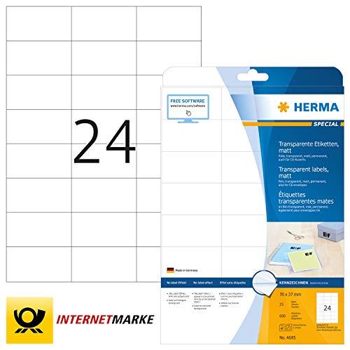 HERMA 4685 Wetterfeste Folien-Etiketten DIN A4 transparent (70 x 37 mm, 25 Blatt, Polyesterfolie, matt) selbstklebend, bedruckbar, permanent haftende Klebefolie, 600 Klebeetiketten, durchsichtig