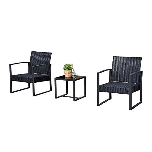 Outsunny 3-teilige Rattan-Gartenmöbel-Garnitur mit Kaffee-Tisch und 2Stühlen, Bistro-Set für Garten/Terrasse, Rattan-Möbel